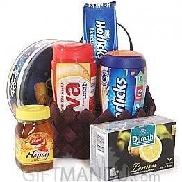 Breakfast Treats - Cookies, Horlicks, Viva, Tea,  Honey Basket For Mother's Day (6 Items)