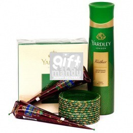 Fragrance Set With Green Chura & Mehendi Cone