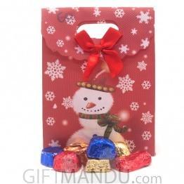 Gourmet Chocolates in Beautiful Snow Man Bag