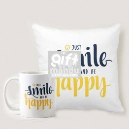 Just Smile & Be Happy Printed Cushion and Coffee Mug