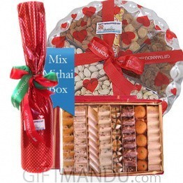 Mithai Box, Dry Nuts Tray and Red Wine