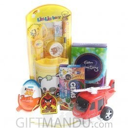 Kids Rakhi Thread with Chocolates, Toy and Stationery Gift Set