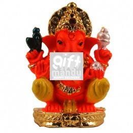 Golden Metal Ganesh Jii Wearing Mukut