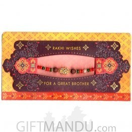 Rakhi Wishes For A Great Brother Greeting Card - (Rakhi Thread Included) (RC-6001)