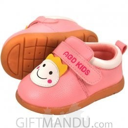 Cute Smiley Pink Shoe For Baby Girl