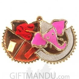 Rakhi Gift - Pink Ganesh Roli Chawal Rakhi Thread Container