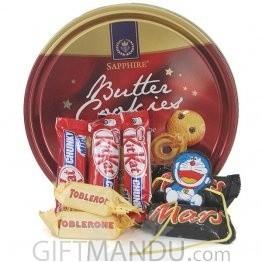 Cute Doraemon Rakhi Thread and Cookies Tin with Miniature Chocolate