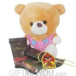 Cute Brown Teddy with Rakhi Thread and Three Cadbury Bournville