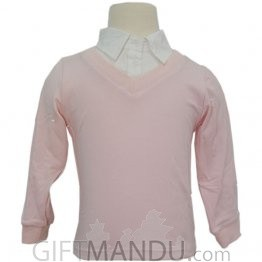 Unisex Collar Sweatshirt (Light Pink With White Collar) - Two Sizes Available