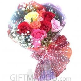 Make it Colorful (12 Fresh Multi Color Rose Bouquet) - HID