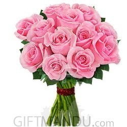 One Dozen Pink Roses Bunch