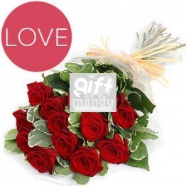 One Dozen Romantic Red Roses Love Bunch