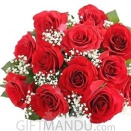 One Dozen Lovely Valentine Red Roses Bunch with Gipsy Fillers - HID