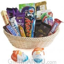 Cute Rakhi Thread with 20 Chocolates Basket for Kids