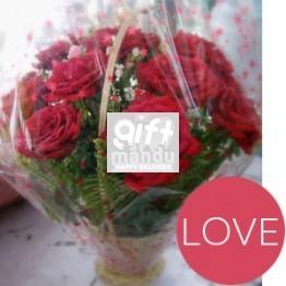 One Dozen Red Roses Round Love Basket