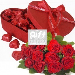 Gourmet Red Heart Chocolate Box and Dozen Red Roses
