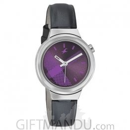 Fastrack Purple Dial Leather Strap Women's Watch (6149SL01)