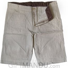 Summer Cotton Half Pant (Cream Color)