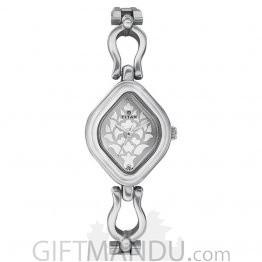 Titan Silver White Dial Analog Watch for Women (2536SM02)