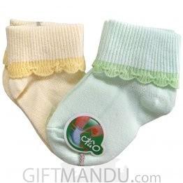 2 Pairs Yellow And Light Green Cotton Socks