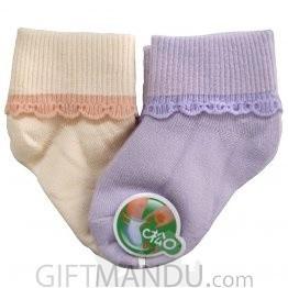 2 Pairs Orange And Purple Cotton Socks