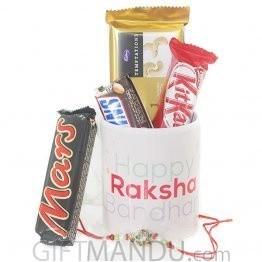 Beautiful Happy Raksha Bandhan Mug with Rakhi Thread and Chocolates