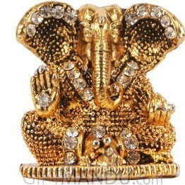 Beautiful Mini Ganesh Ji Metal Statue (Golden)