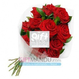One Dozen Lovely Long Stem Valentine Red Roses