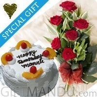 Five Star Cake with Half Dozen Red Roses