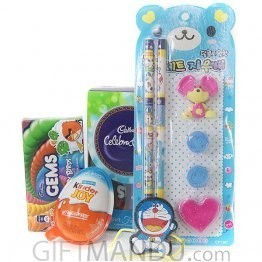 Kids Rakhi Thread with Pencil Erasers Gifts Set and Chocolates