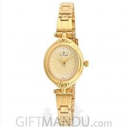 Titan Brass Case Champagne Dial Analog Watch for Women (2538YM01)