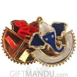 Rakhi Gift - Dark Blue Ganesh Roli Chawal Rakhi Thread Container