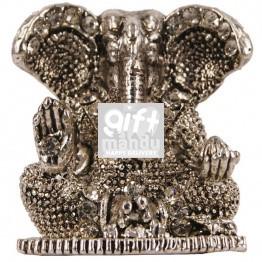 Beautiful Mini Ganesh Ji Metal Statue (Silver)