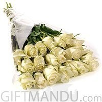 20 Long Stem White Roses Bouquet