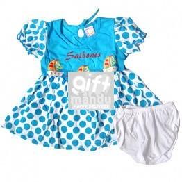 Cotton Blue Dress for Girl (3-6 months)