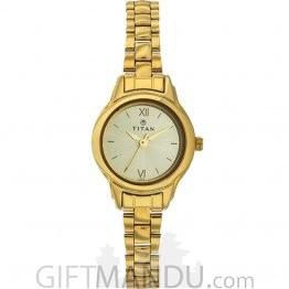 Titan Brass Case Champagne Dial Analog Watch for Women (2401YM02)
