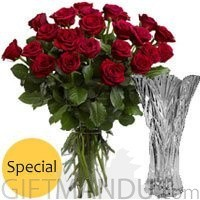 Two Dozen Romantic Red Roses Vase
