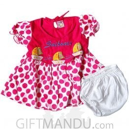 Cotton Pink Dress for Girl (0-6 months)