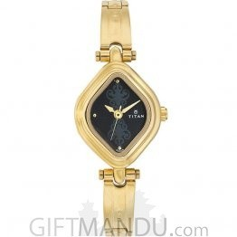 Titan Brass Case Black Dial Analog Watch for Women (2536YM02)