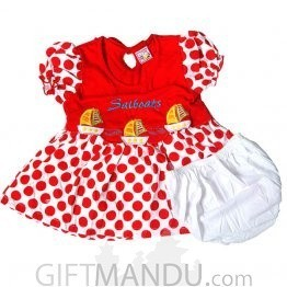 Cotton Red Dress for Girl (6-12 months)