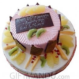 Two Layered Five Star Round Cake for Special Big Events (3kg+)
