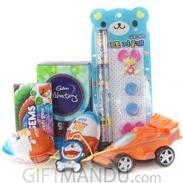 Kids Special Rakhi Thread with Chocolates, Toy, Pencils Eraser Set