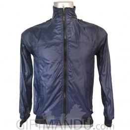 Dark Blue Full Sleeves Polyester Windcheater (L)