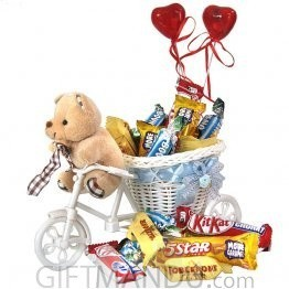 Teddy Delivering Chocolates on Rickshaw