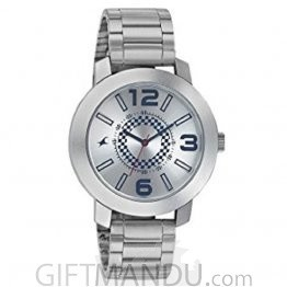 Fastrack Guys Stainless Steel Analog Silver White Dial Watch for Men 3120sm03