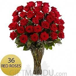 3 Dozen Long Stem Fresh Red Roses - HID