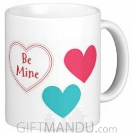 Valentine Love Mug With Personalized Message Print (Be Mine 3 Hearts)