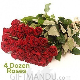 4 Dozen Long Fresh Red Roses for Valentine's Day - HID