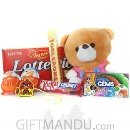 Alluring Rakhi Gifts Hamper with Cute Kids Rakhi and Soft Toy