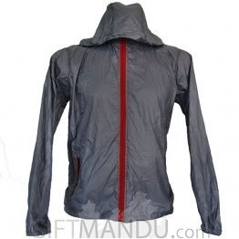 Grey Full Sleeves Polyester Windcheater (XL)